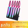 New Design Rainbow Blade 5pcs Kitchen Knife Set Titanium Coating With Magnetic Block