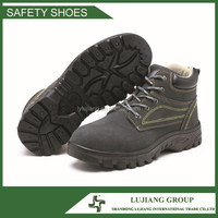 rubber outsole suede leather hard work and safety steel toe boots LJ-GB716
