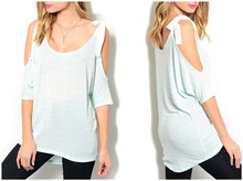 Shandao Casual Style Cut Out Women's Blouse Ladies loose summer tops
