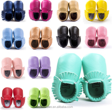 solid color, 16 colors in, high quality baby pu moccasins
