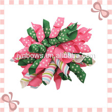 New Design Curly Ribbon Hair Bow with White Dots