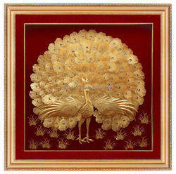 Great 24k gold artificial decorative Peafowl gold foil 999 plated picture frame nice for home decoration or gift