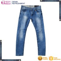 Elastic fabric moustache effect and hand brushed mens clothing bottom jeans