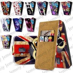 Fashion Patterns Printed Magnetic Top Flip PU Leather Case Card Holder Wallet Phone Cover Skin For Nokia Lumia 610