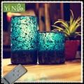 Blaue mosaik glas-timer flammenlose led-kerze, hochzeit dekorationen für Empfang führte kerze