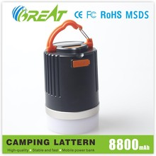 OEM/ODM outdoor plastic 4LED Camping lantern with mobile phone charger