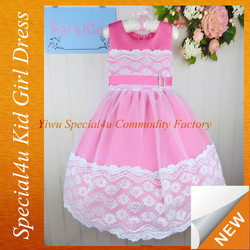 Hot pink lace satin frock design kids party dresses 3 year old girl dress CDT-378