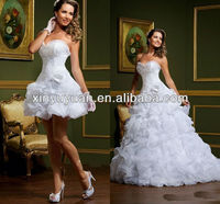 Popular Ruffled Detachable Skirt Ball Gown Organza Short Sexy Wedding Dresses Bridal Gown VW-001