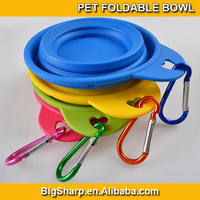 100pcs small size pet dog water food feeding travel cup folding retractable silicon gel carabiner collapsible bowl FB-003A