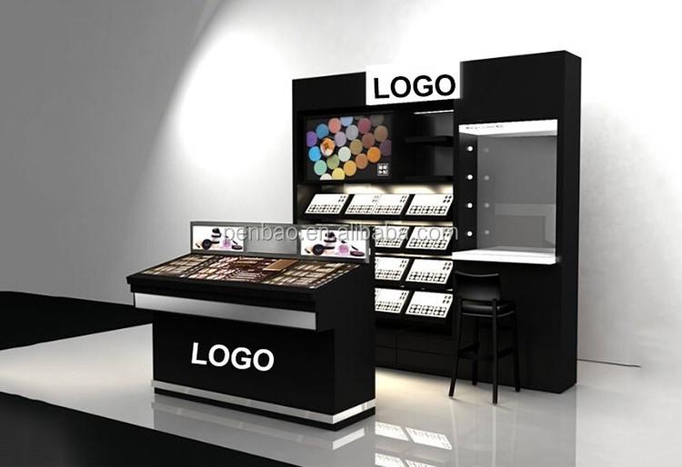 Лучший продукт индивидуальные розничный магазин полки магазина акриловые косметическая стойка дисплея с 3 шины ящики для косметической
