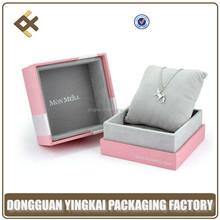 Custom Logo Pink Paper Gift Box With Velvet Insert For Pendant
