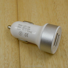 White Dual USB Port Car Charger Adapter 2.1A 5V for iphone 5 4s samsung