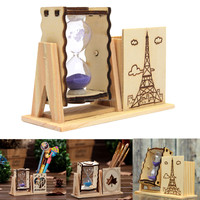 Beautiful Design Overvalue Wood Sand Glass Hourglass Timer Clock And Pen Brush Holder Fit For Home Office Desk Decor