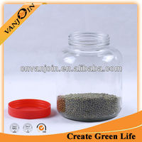 Hot sell transparent glass jars with plastic seal lids