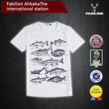 The sea a lot of fish white big size of unique design of the T-shirt