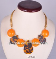2014 tribal silicone necklace teething necklace wholesale Sexy Leopard drop & semicircle orange bead buble statement necklace