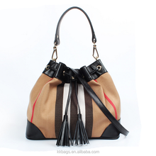 Genuine Leather and Knitted Fabric Bucket Tassel Hand Bag Lady 2015