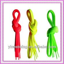 plano de encargo cordones de los zapatos fluorescente para los deportes de zapatos