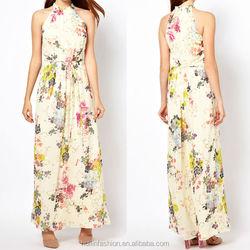 2015 latest design ladies fashion strapped pleated floral print maxi bangkok dress