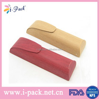 Hot selling pu leather pencil box popular wooden reading eyeglasses case