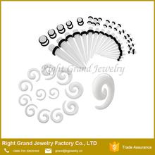 Wholesale acrylic spiral ear taper, piercing jewelry earring