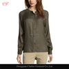 Army green office wear blouse button front ladies long sleeve blouses