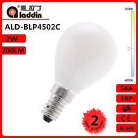 china supplier LED filament bulb 2w E14/E27/B22 GLASS milky