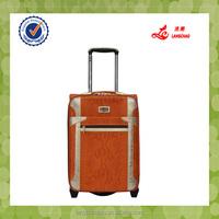 good looking snake material shining PU luggage set trolley bag
