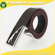 2015 hot sale brown microfiber PU leather man belt with famous buckles