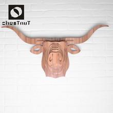 Vintage moderne animaux longue corne têtes sculpture bois home decor salon ensembles