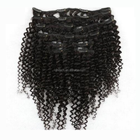 Hot Sale Alibaba Express human virgin hair clip in hair extensions for black women afro kinky clip