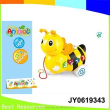 Electric plastic pull along Bee toy baby music toys/Pull Along Cartoon Bee with Light and Music