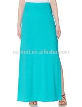 Alta calidad maxi larga en blanco falda mujeres