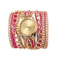 Multicolor Fashion Antique Luxury women Metal Chain Band Quartz Wrapped Bracelet Watch
