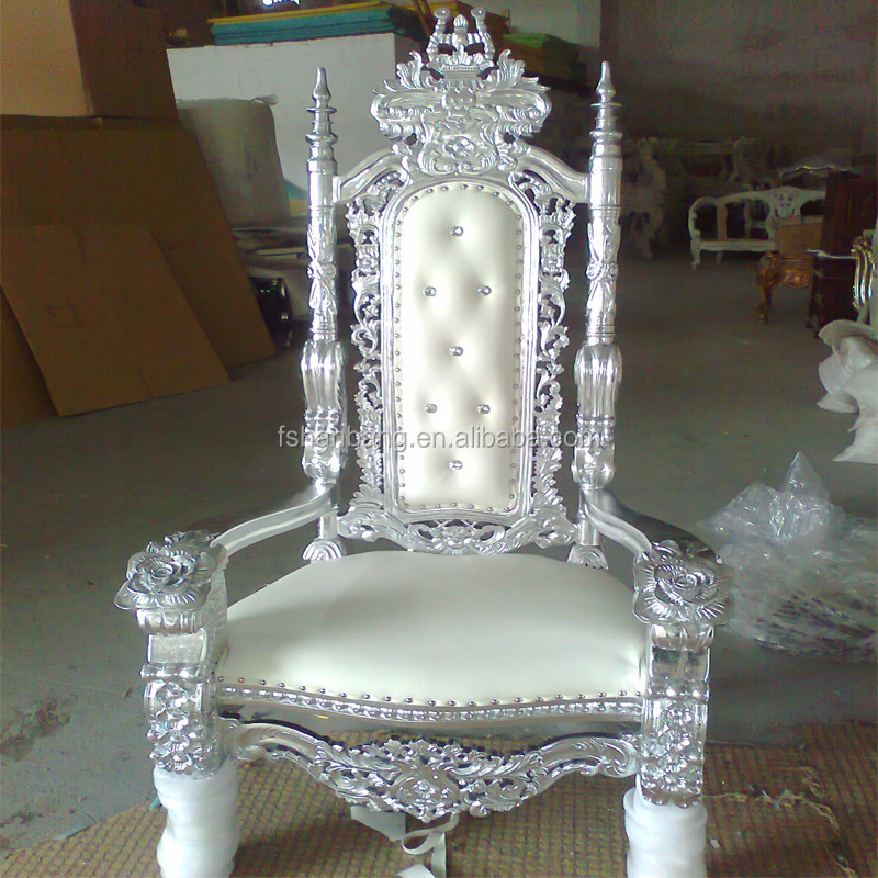 RY003 a.jpg ... - White Tiffany Golden Silver Antique Royal Carved King Queen Throne