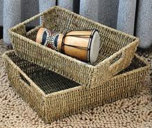handmade Grass woven craft storage basket with handle