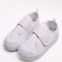 spring summer autumn girls boys kids pure white canvas cloth shoes