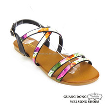 upper parallel strap ankle cross design PU sole sandals new design girls' sandals