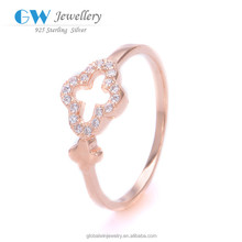 925 Sterling Silver Clovers Flower Ring Plated Gold Ring Wholesale Price