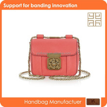Fashion school side PU leather bags with metal chain for girls