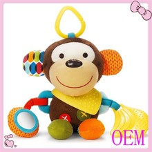 Colorful baby stuffed animals teeth toy music shaking soft hanging baby toys