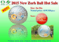 Promotional sale Good quality Dia 3m cheap zorbing, giant inflatable clear ball, clear plastic ball ornaments bulk