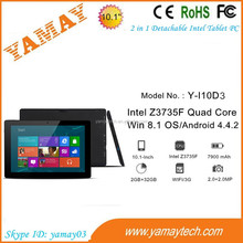 dual os win8 android tablet pc 10.1 inch 3g wifi intel quad core 2.0/2.0mp camera portable laptop notebook
