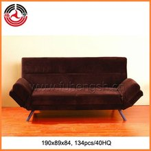 Dark Brown Fabric Sofa bed with Adjustable Arms