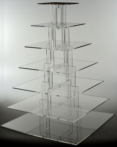 7 tier transparent acrylic square wedding cake stands (2).JPG