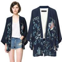 New 2014 Hot Selling Women Spring Autumn European-Style Batwing Sleeve Flower Print Asymmetric Kimono Blouse 6834