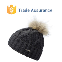Knitted Fur Pom Pom Beanies,Beanie Hat With Faux Fur,Custom Logo Beanies
