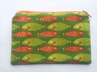 Handmade Funky Fish Cotton Fabric Zippy Purse