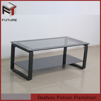 black antique glass top metal frame mirrored coffee table