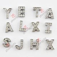 Wholesale metal rhinestone bulk letter charms (JP08)